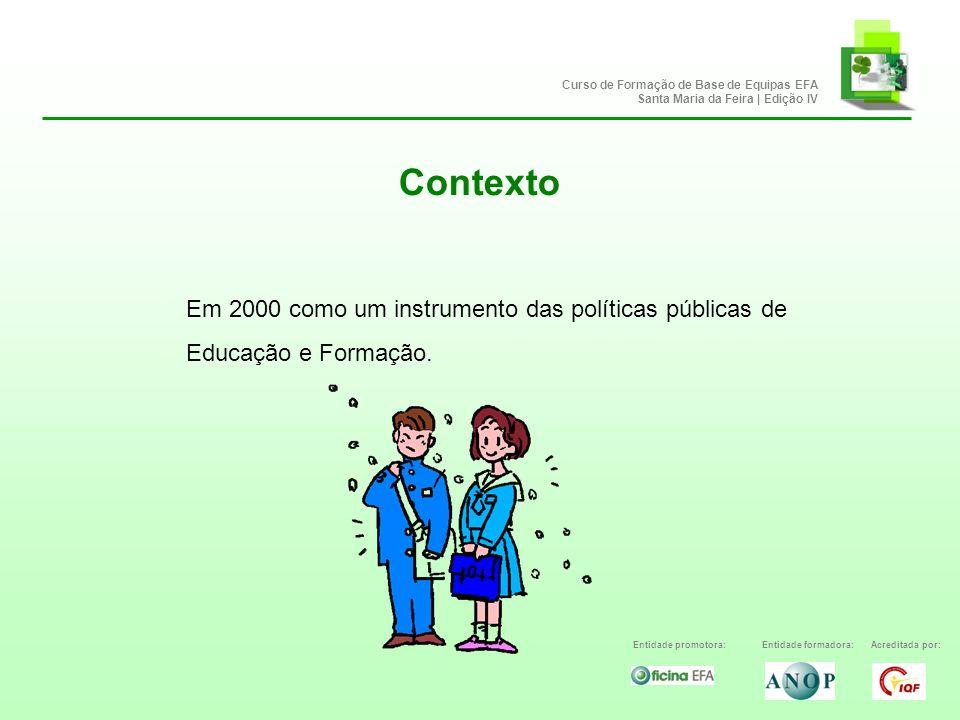Contexto Entidade promotora:Entidade formadora:Acreditada por: Curso de Formação de Base de Equipas EFA Santa Maria da Feira | Edição IV Em 2000 como um instrumento das políticas públicas de Educação e Formação.