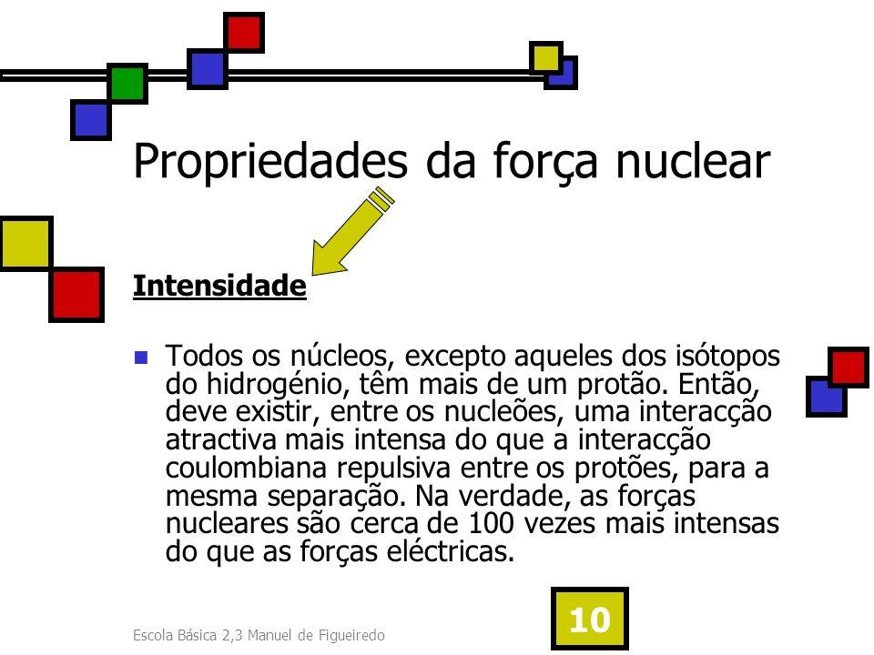Escola Básica 2,3 Manuel de Figueiredo 10 Propriedades da força nuclear Intensidade Todos os núcleos, excepto aqueles dos isótopos do hidrogénio, têm