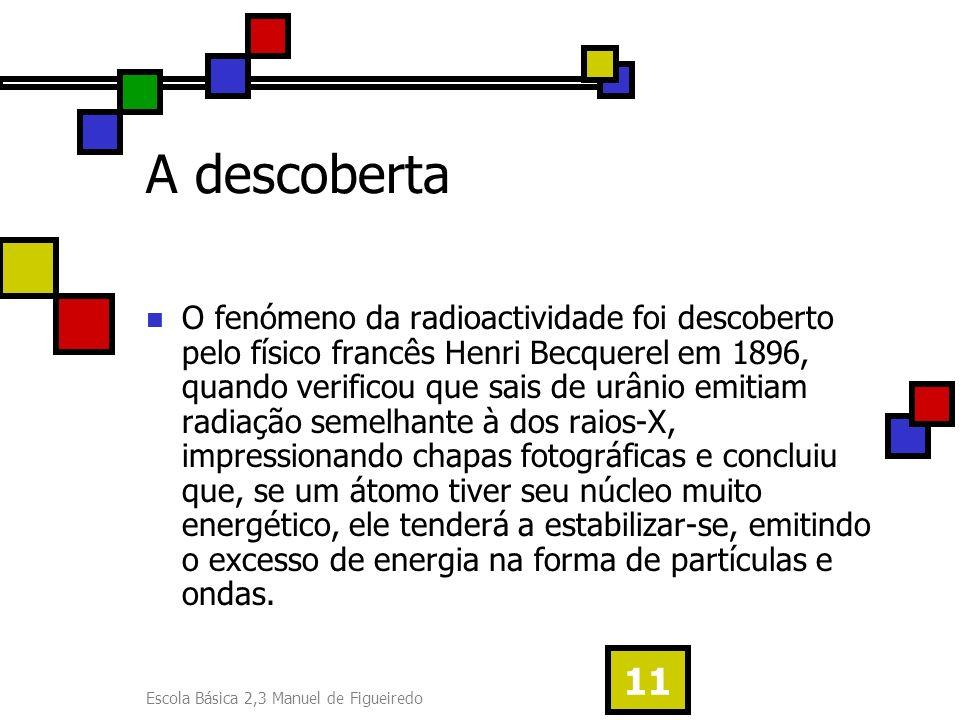 Escola Básica 2,3 Manuel de Figueiredo 11 A descoberta O fenómeno da radioactividade foi descoberto pelo físico francês Henri Becquerel em 1896, quand