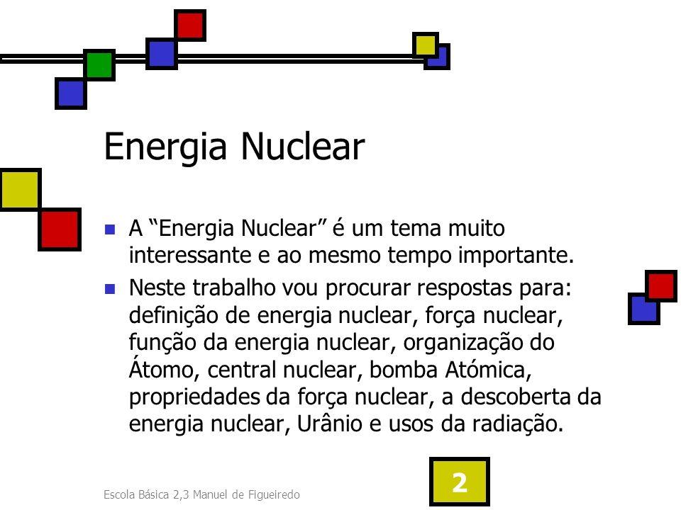 Escola Básica 2,3 Manuel de Figueiredo 3 Energia Nuclear (Definição) A energia nuclear está no núcleo dos átomos, nas forças que mantém unidos os seus componentes – as partículas subatómicas.