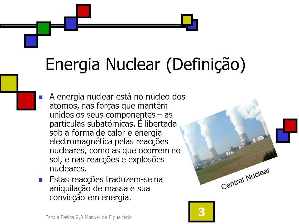 Escola Básica 2,3 Manuel de Figueiredo 3 Energia Nuclear (Definição) A energia nuclear está no núcleo dos átomos, nas forças que mantém unidos os seus