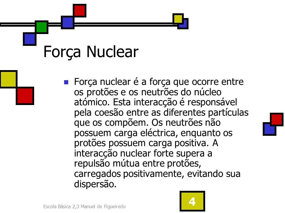 Escola Básica 2,3 Manuel de Figueiredo 4 Força Nuclear Força nuclear é a força que ocorre entre os protões e os neutrões do núcleo atómico. Esta inter