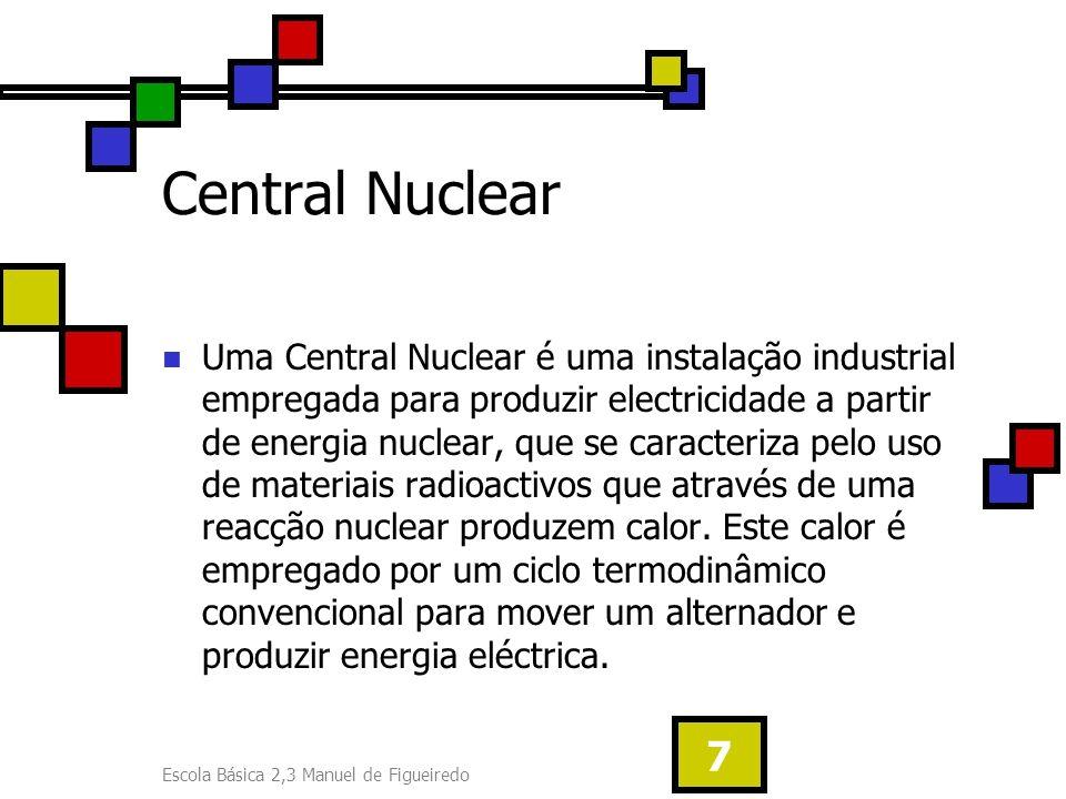 Escola Básica 2,3 Manuel de Figueiredo 7 Central Nuclear Uma Central Nuclear é uma instalação industrial empregada para produzir electricidade a parti