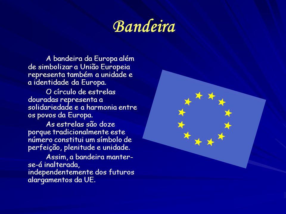 Bandeira A bandeira da Europa além de simbolizar a União Europeia representa também a unidade e a identidade da Europa. O círculo de estrelas douradas