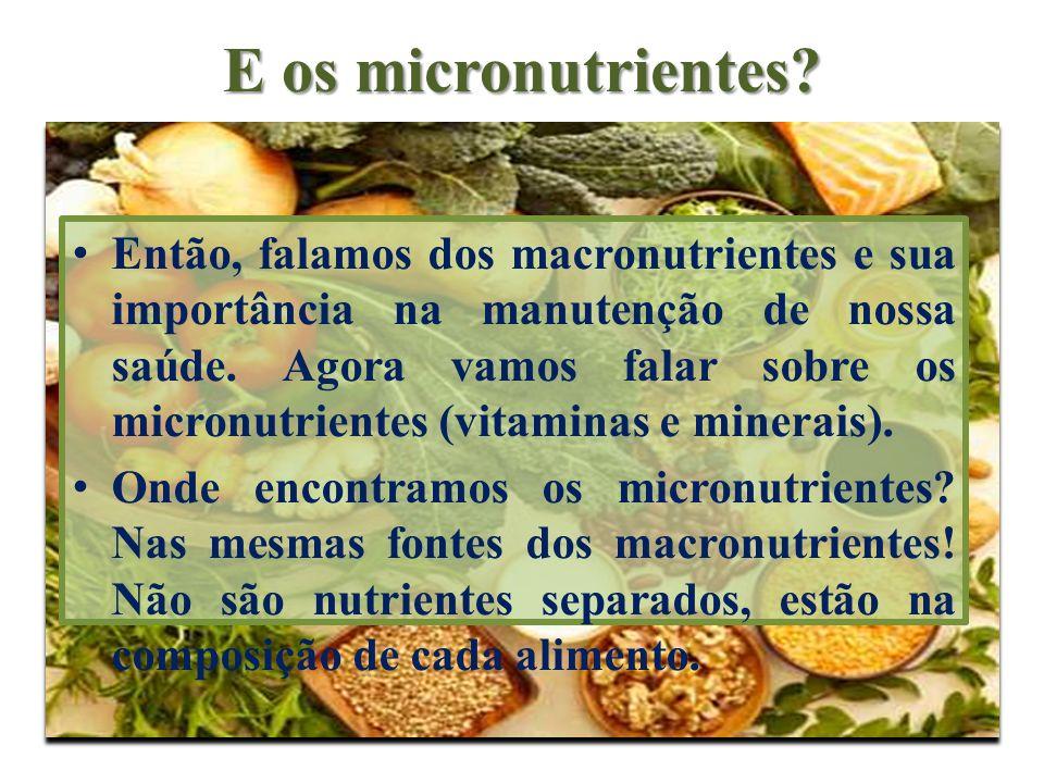 E os micronutrientes? Então, falamos dos macronutrientes e sua importância na manutenção de nossa saúde. Agora vamos falar sobre os micronutrientes (v