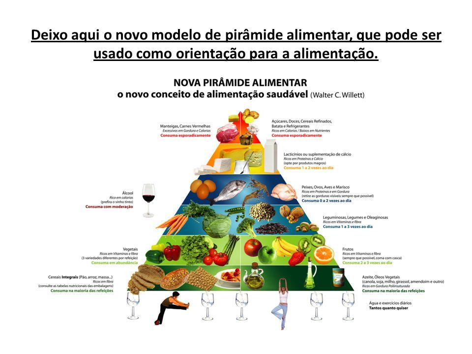 Deixo aqui o novo modelo de pirâmide alimentar, que pode ser usado como orientação para a alimentação.