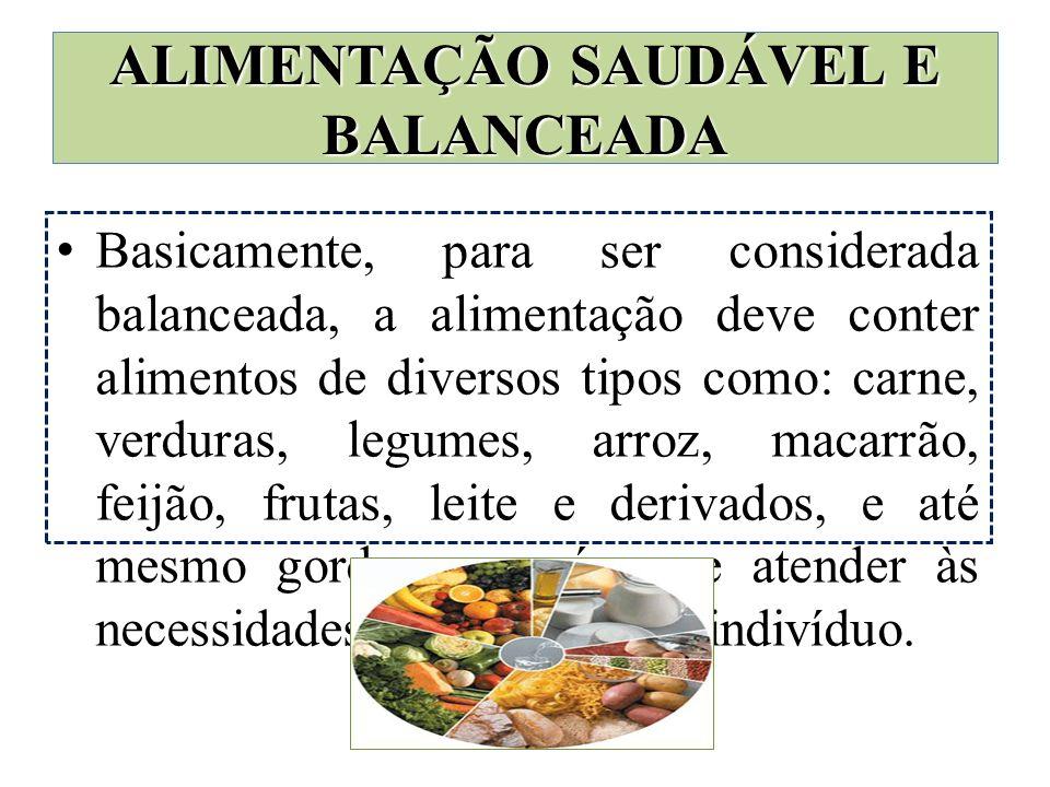 Basicamente, para ser considerada balanceada, a alimentação deve conter alimentos de diversos tipos como: carne, verduras, legumes, arroz, macarrão, f