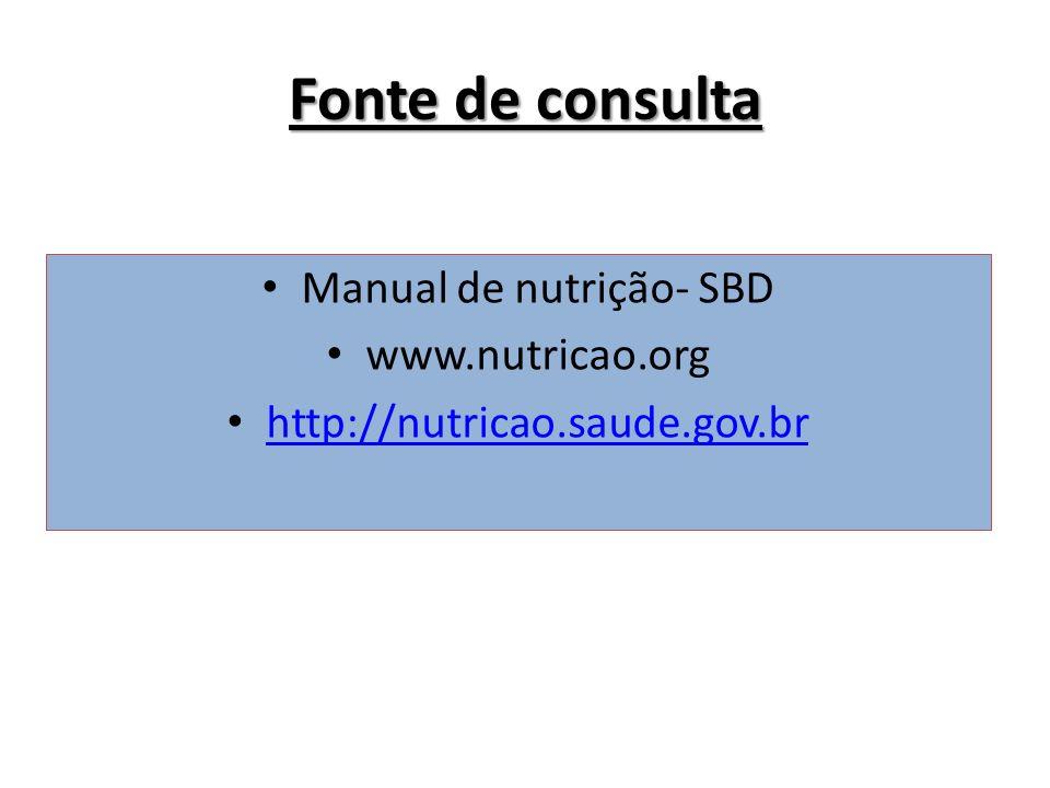 Fonte de consulta Manual de nutrição- SBD www.nutricao.org http://nutricao.saude.gov.br