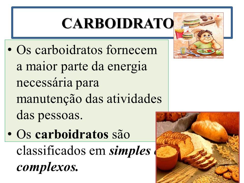 Carboidratos simples Os carboidratos simples são formados por açúcares simples ou por um par deles.