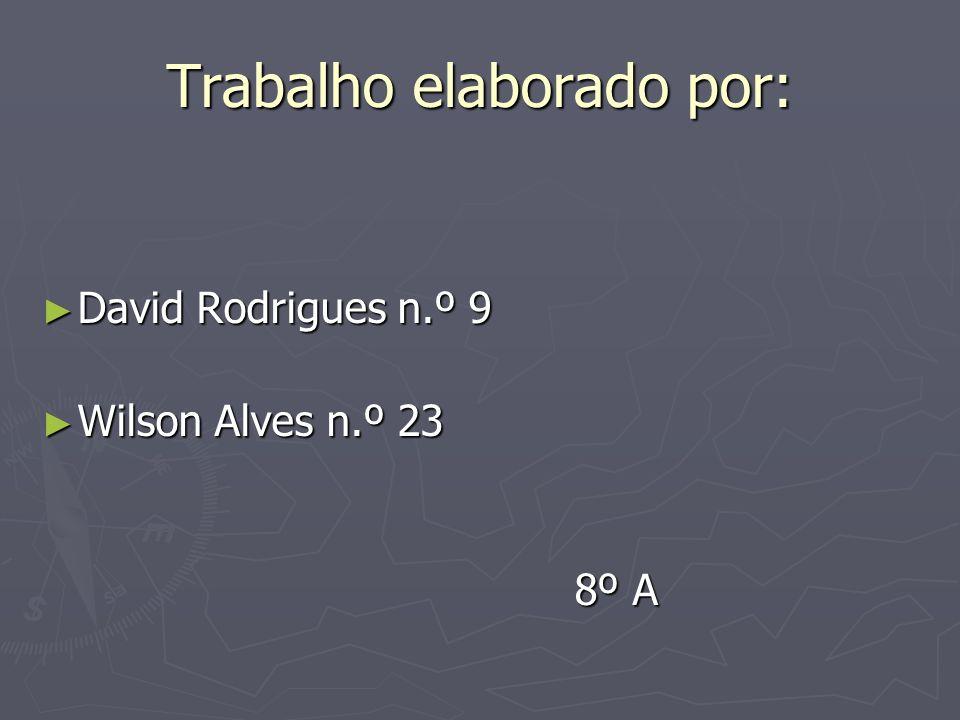 Trabalho elaborado por: David Rodrigues n.º 9 David Rodrigues n.º 9 Wilson Alves n.º 23 Wilson Alves n.º 23 8º A 8º A