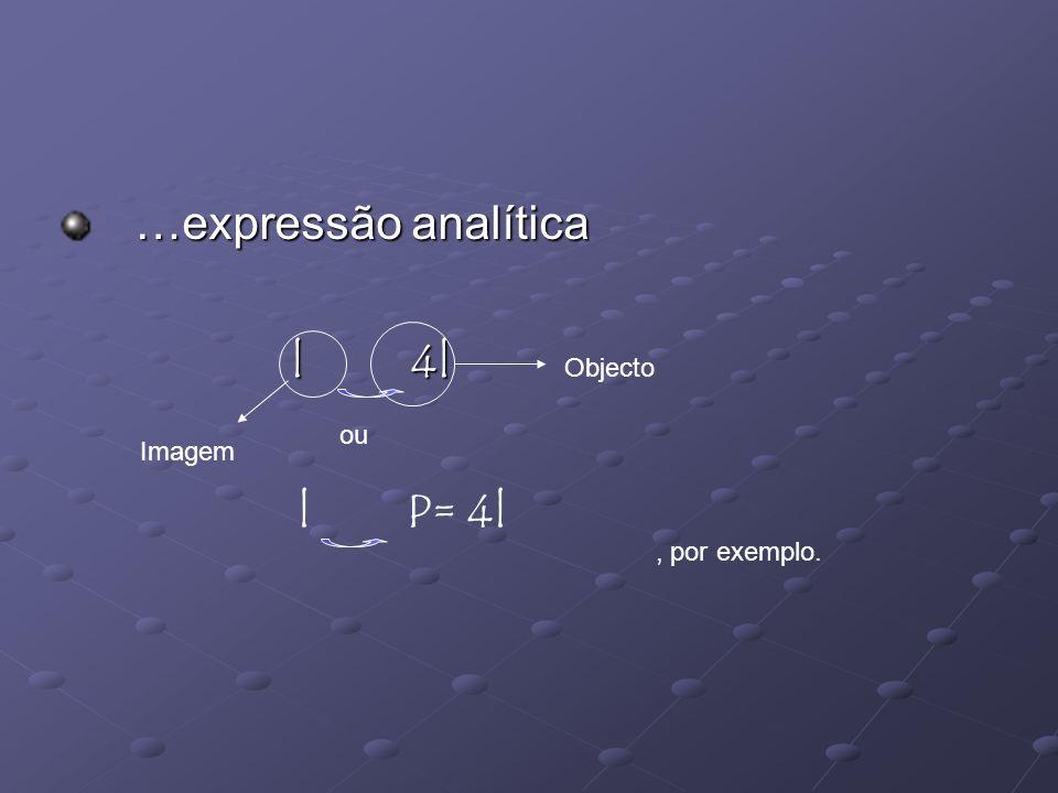 …expressão analítica …expressão analítica l 4l, por exemplo. ou l P= 4l Imagem Objecto