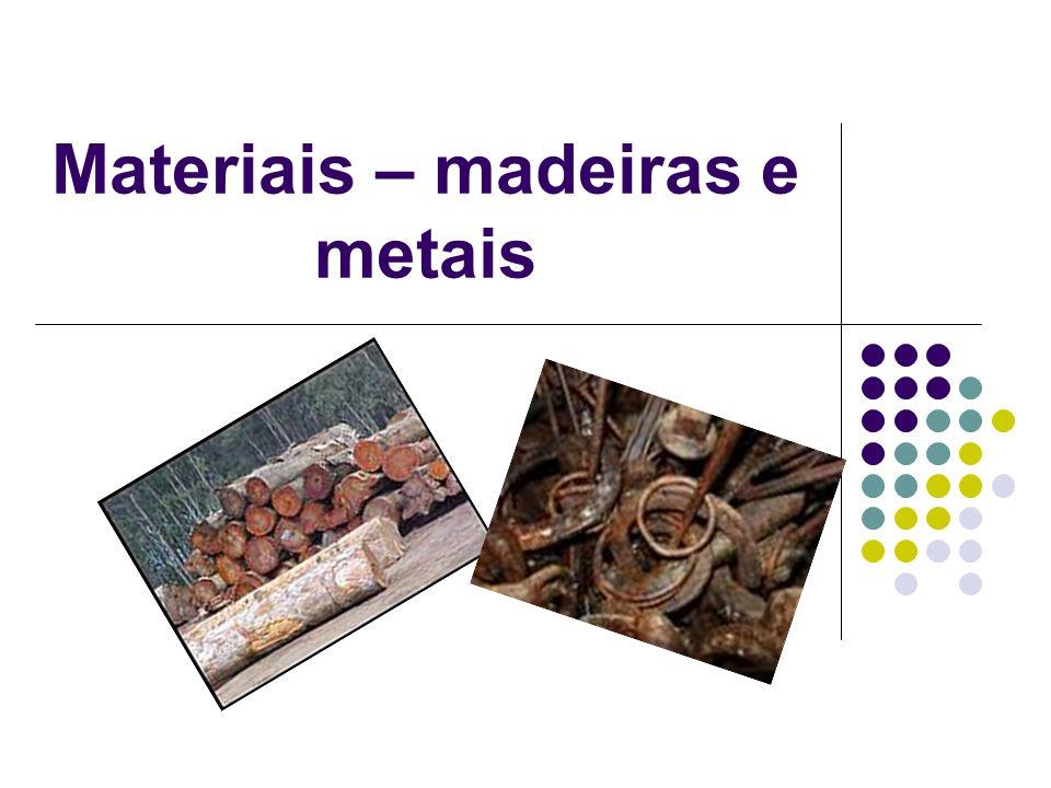 Materiais – madeiras e metais