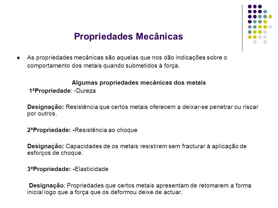 Propriedades Mecânicas As propriedades mecânicas são aquelas que nos dão indicações sobre o comportamento dos metais quando submetidos à força.