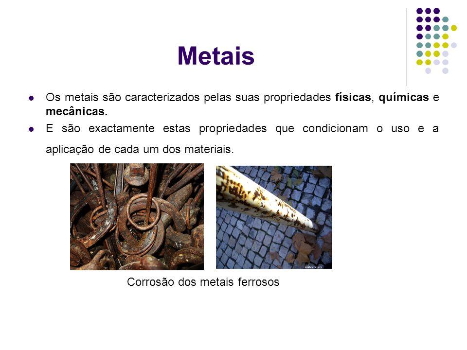 Metais Os metais são caracterizados pelas suas propriedades físicas, químicas e mecânicas.