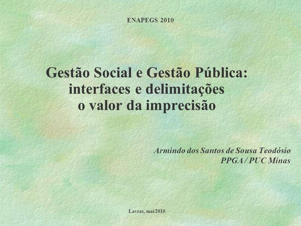 ENAPEGS 2010 Gestão Social e Gestão Pública: interfaces e delimitações o valor da imprecisão Armindo dos Santos de Sousa Teodósio PPGA / PUC Minas Lav