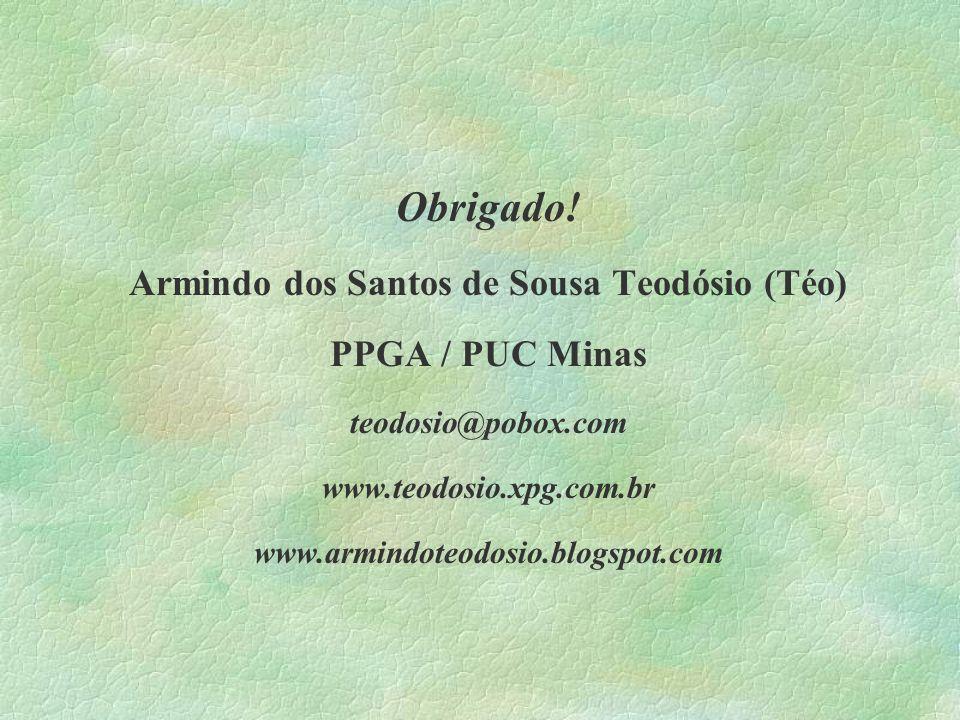 Obrigado! Armindo dos Santos de Sousa Teodósio (Téo) PPGA / PUC Minas teodosio@pobox.com www.teodosio.xpg.com.br www.armindoteodosio.blogspot.com