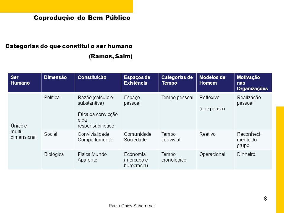 8 Paula Chies Schommer Coprodução do Bem Público Ser Humano DimensãoConstituiçãoEspaços de Existência Categorias de Tempo Modelos de Homem Motivação n
