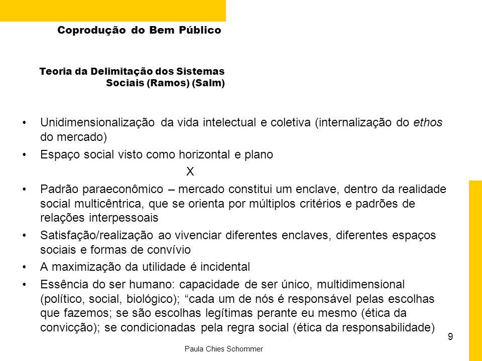 SocialPessoal Coprodução do Bem Público Econômico Político Paradigma Paraeconômico Econômico Político Pessoal Social Paradigma Econômico A representação dos paradigmas By Iuana Reus
