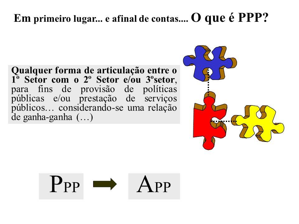 Em primeiro lugar... e afinal de contas.... O que é PPP? Qualquer forma de articulação entre o 1º Setor com o 2º Setor e/ou 3ºsetor, para fins de prov