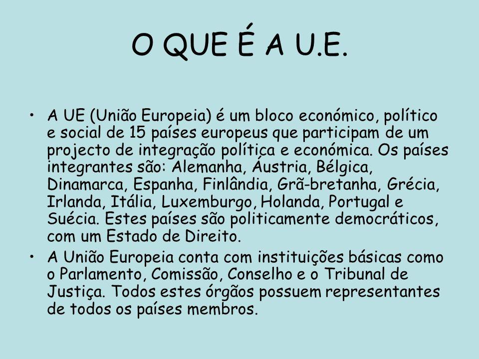 O QUE É A U.E. A UE (União Europeia) é um bloco económico, político e social de 15 países europeus que participam de um projecto de integração polític