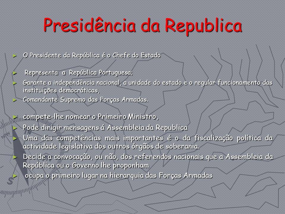 Presidência da Republica O Presidente da República é o Chefe do Estado O Presidente da República é o Chefe do Estado Representa a República Portuguesa