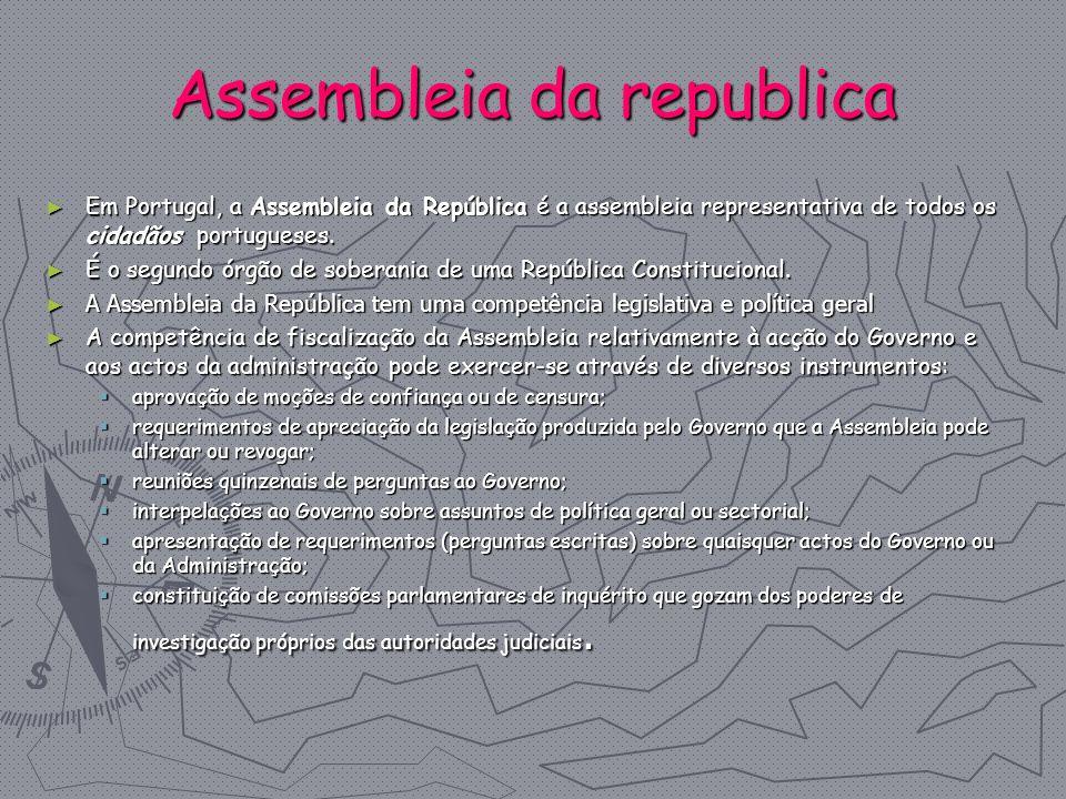 Assembleia da republica Em Portugal, a Assembleia da República é a assembleia representativa de todos os cidadãos portugueses. Em Portugal, a Assemble