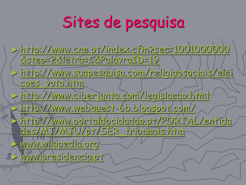 Sites de pesquisa http://www.cne.pt/index.cfm?sec=1001000000 &step=2&letra=C&PalavraID=19 http://www.cne.pt/index.cfm?sec=1001000000 &step=2&letra=C&P