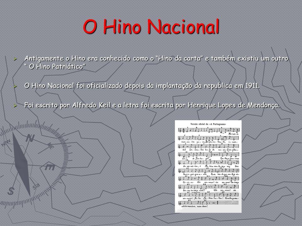 O Hino Nacional Antigamente o Hino era conhecido como o Hino da carta e também existiu um outro O Hino Patriático Antigamente o Hino era conhecido com