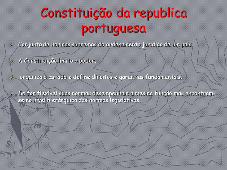 Constituição da republica portuguesa Conjunto de normas supremas do ordenamento jurídico de um país. Conjunto de normas supremas do ordenamento jurídi