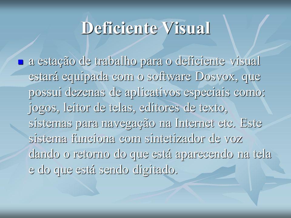Deficiente Visual a estação de trabalho para o deficiente visual estará equipada com o software Dosvox, que possui dezenas de aplicativos especiais co