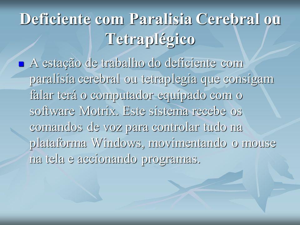 Deficiente com Paralisia Cerebral ou Tetraplégico A estação de trabalho do deficiente com paralisia cerebral ou tetraplegia que consigam falar terá o