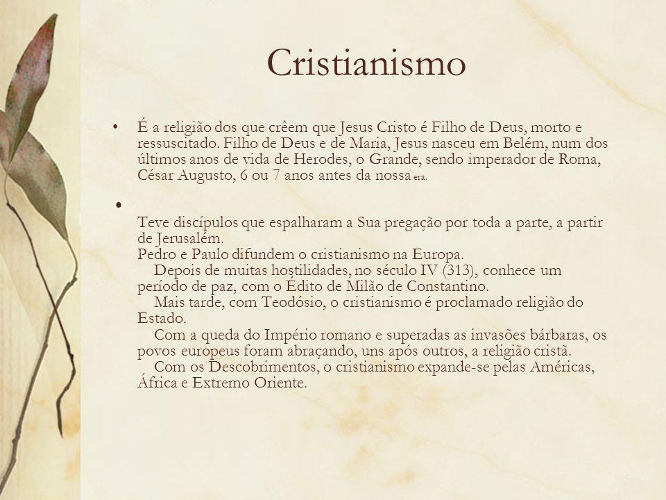 Cristianismo É a religião dos que crêem que Jesus Cristo é Filho de Deus, morto e ressuscitado. Filho de Deus e de Maria, Jesus nasceu em Belém, num d