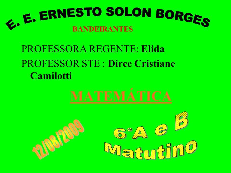 MATEMÁTICA PROFESSORA REGENTE: Elida PROFESSOR STE : Dirce Cristiane Camilotti BANDEIRANTES