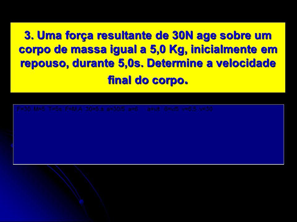 3. Uma força resultante de 30N age sobre um corpo de massa igual a 5,0 Kg, inicialmente em repouso, durante 5,0s. Determine a velocidade final do corp