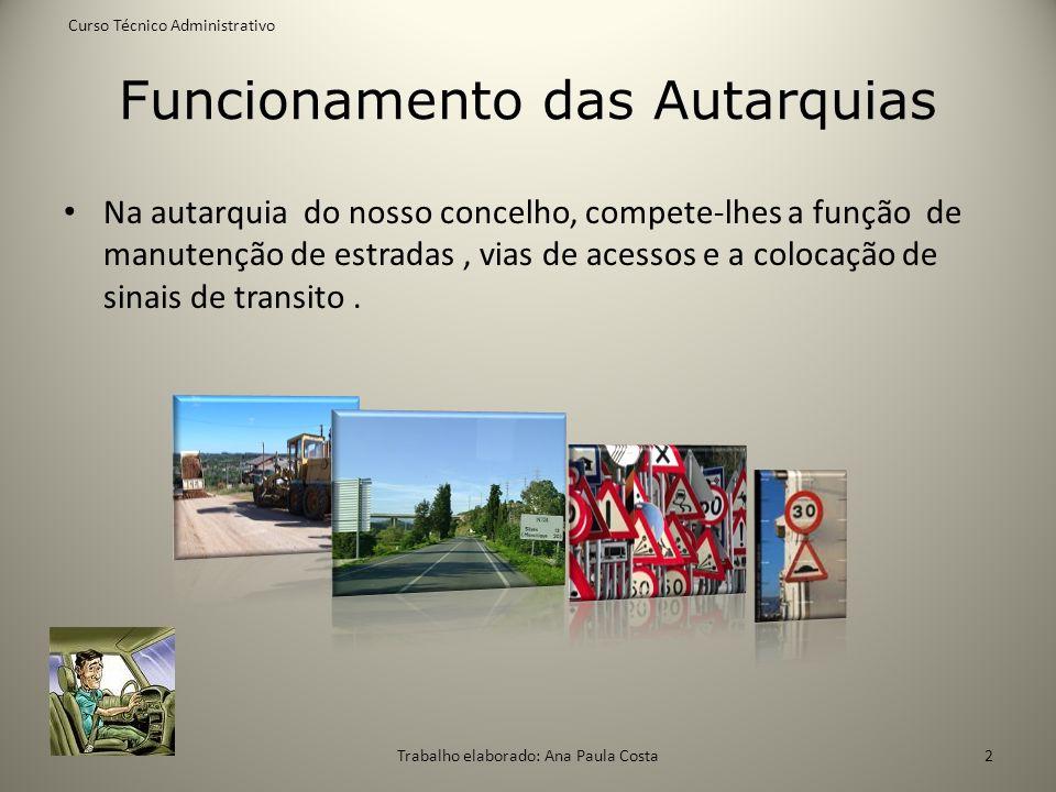 Funcionamento das Autarquias Na autarquia do nosso concelho, compete-lhes a função de manutenção de estradas, vias de acessos e a colocação de sinais
