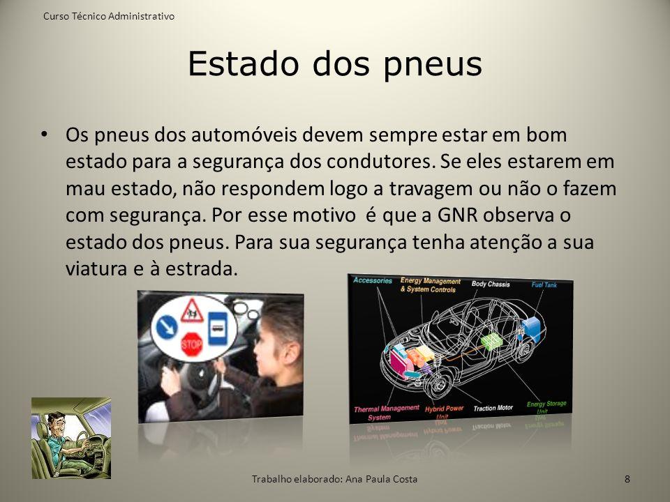 Estado dos pneus Os pneus dos automóveis devem sempre estar em bom estado para a segurança dos condutores. Se eles estarem em mau estado, não responde