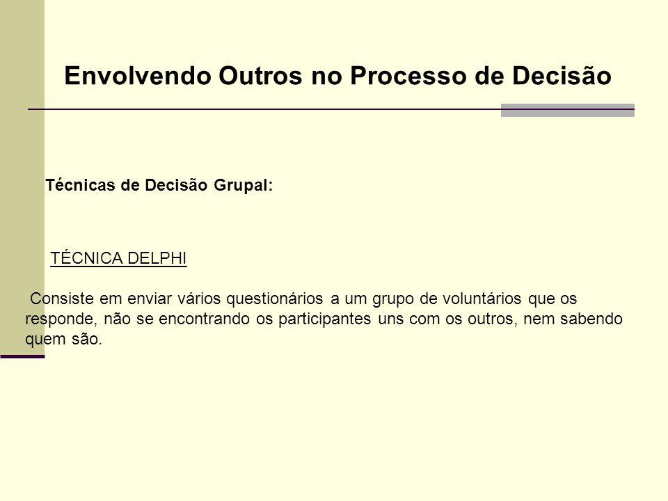 Técnicas de Decisão Grupal: Envolvendo Outros no Processo de Decisão TÉCNICA DELPHI Consiste em enviar vários questionários a um grupo de voluntários