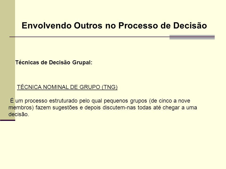 Técnicas de Decisão Grupal: Envolvendo Outros no Processo de Decisão TÉCNICA NOMINAL DE GRUPO (TNG) É um processo estruturado pelo qual pequenos grupo