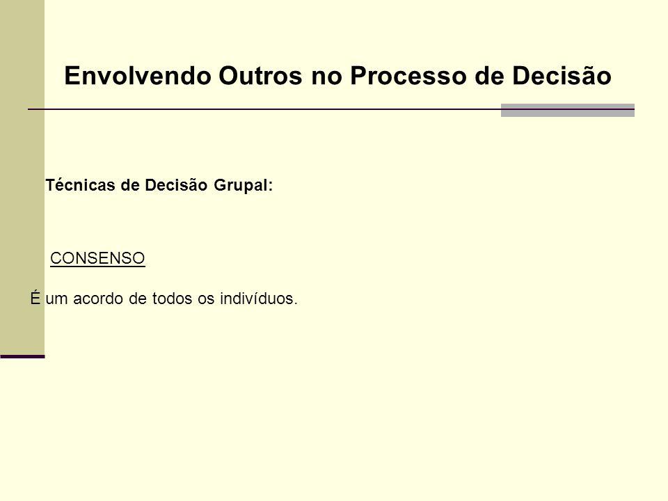 Técnicas de Decisão Grupal: Envolvendo Outros no Processo de Decisão CONSENSO É um acordo de todos os indivíduos.