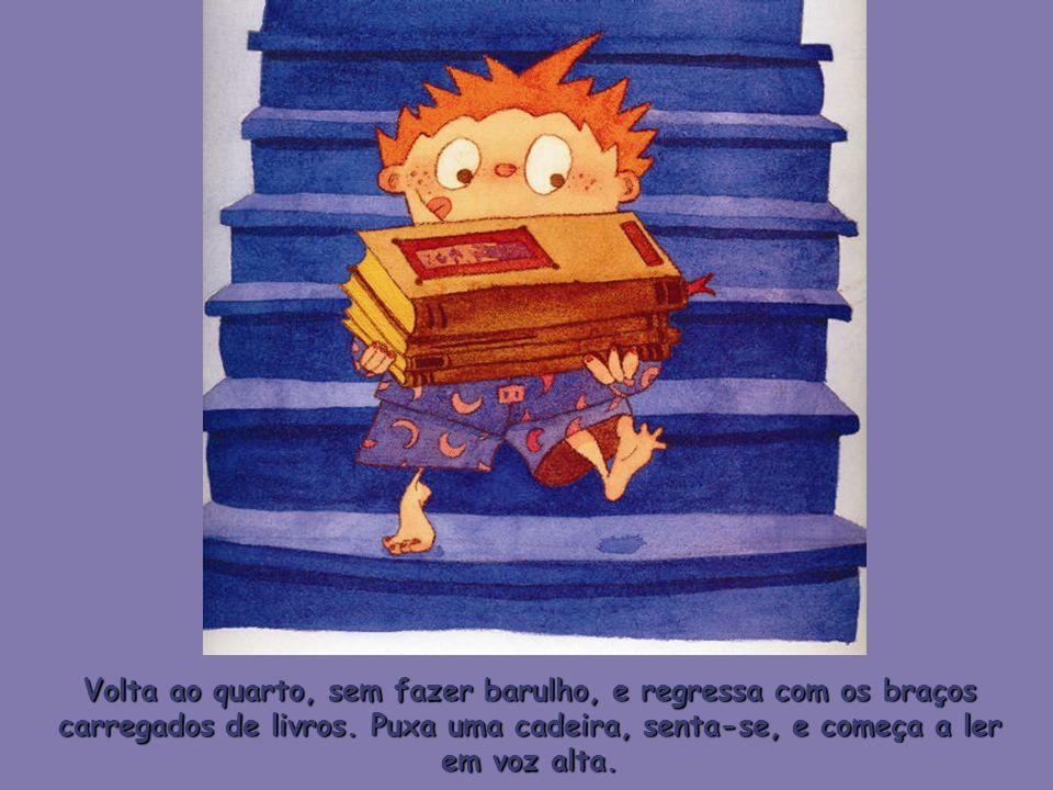 Volta ao quarto, sem fazer barulho, e regressa com os braços carregados de livros. Puxa uma cadeira, senta-se, e começa a ler em voz alta.