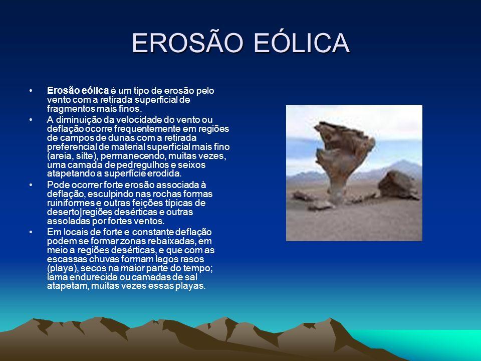 EROSÃO EÓLICA Erosão eólica é um tipo de erosão pelo vento com a retirada superficial de fragmentos mais finos. A diminuição da velocidade do vento ou