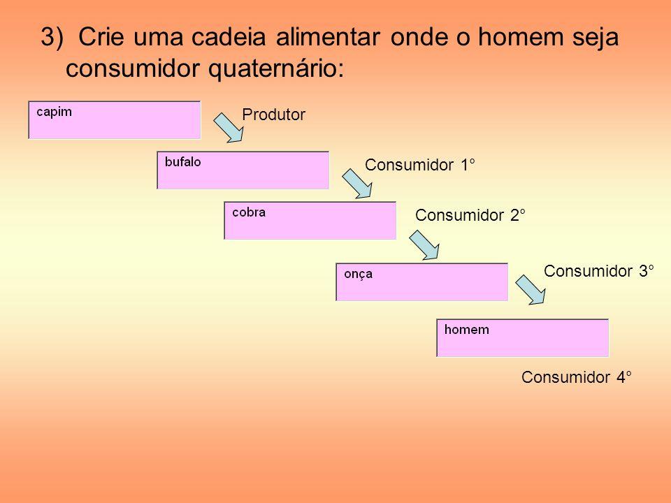 3) Crie uma cadeia alimentar onde o homem seja consumidor quaternário: Produtor Consumidor 1° Consumidor 2° Consumidor 3° Consumidor 4°