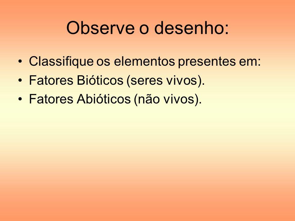 Observe o desenho: Classifique os elementos presentes em: Fatores Bióticos (seres vivos). Fatores Abióticos (não vivos).