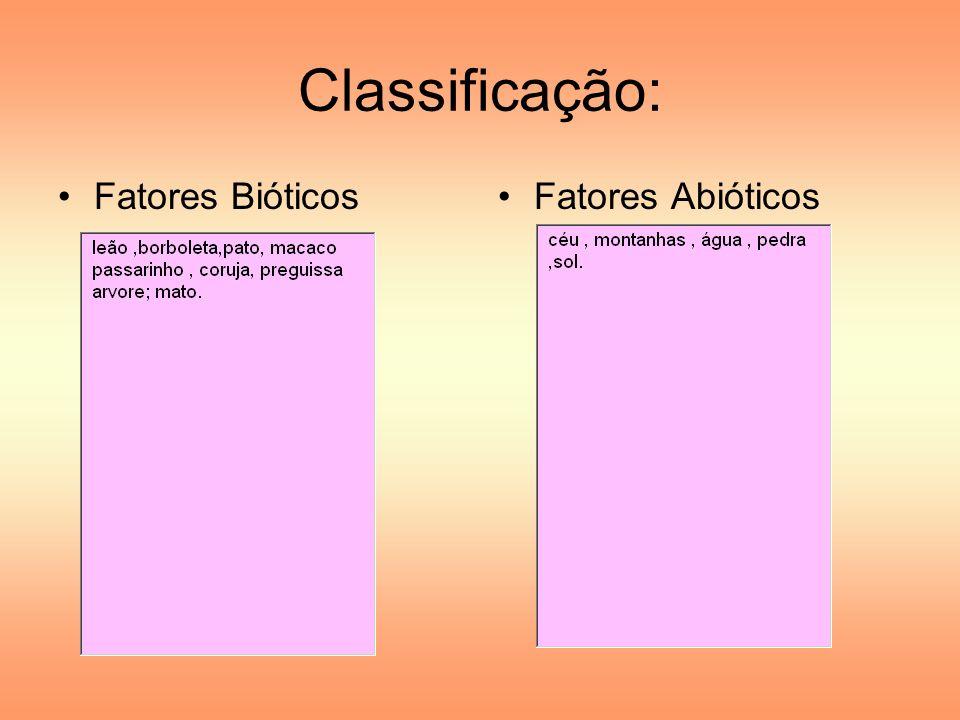 Classificação: Fatores BióticosFatores Abióticos
