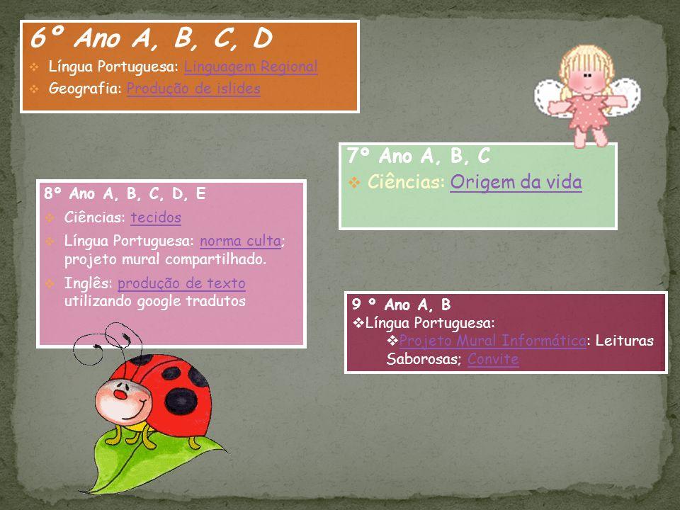 6º Ano A, B, C, D Língua Portuguesa: Linguagem RegionalLinguagem Regional Geografia: Produção de islidesProdução de islides 7º Ano A, B, C Ciências: O