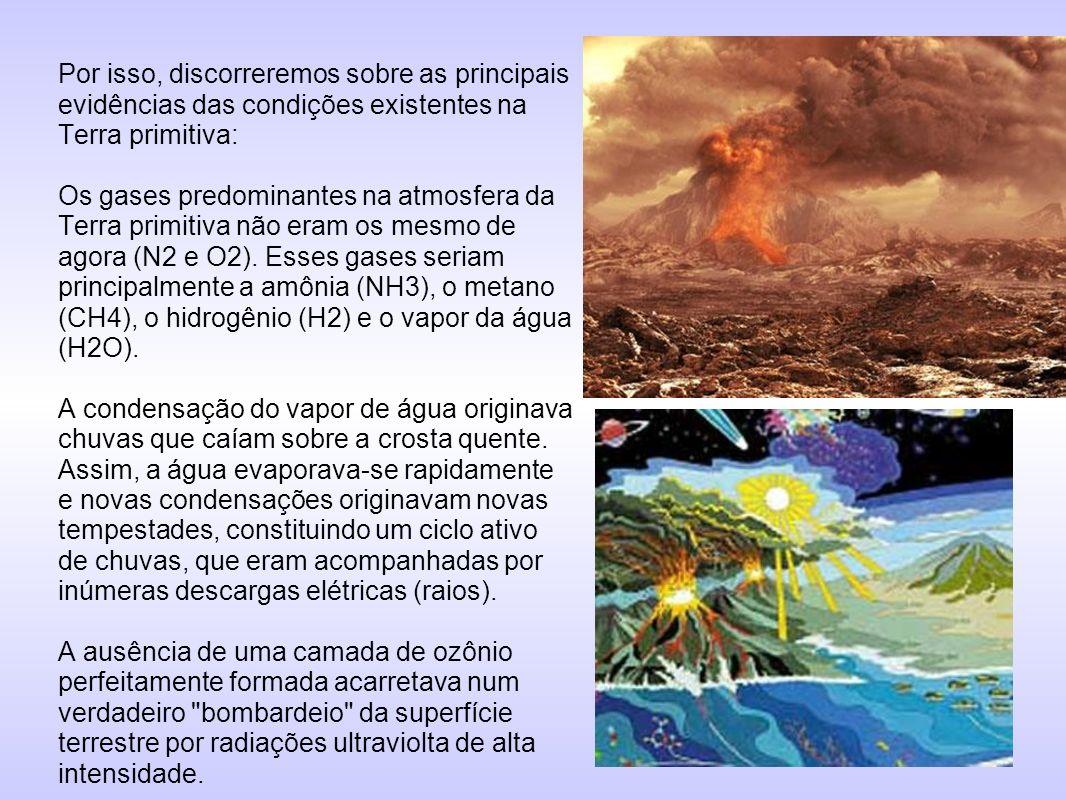 Por isso, discorreremos sobre as principais evidências das condições existentes na Terra primitiva: Os gases predominantes na atmosfera da Terra primi