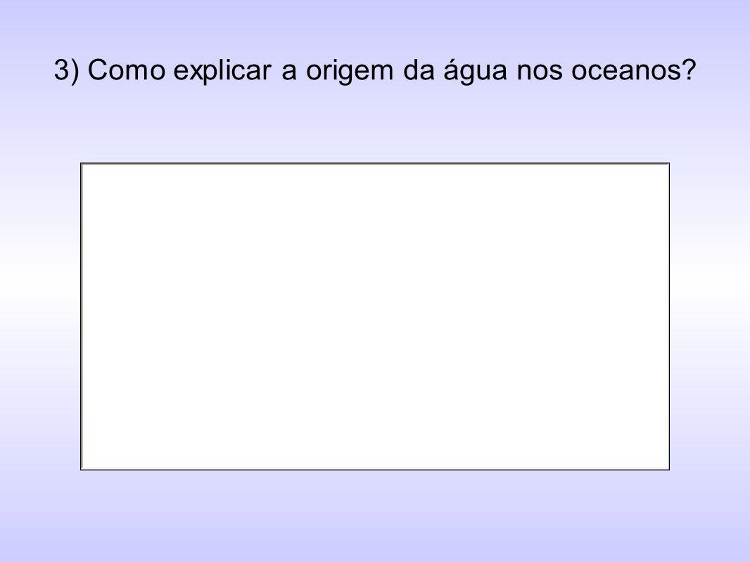 3) Como explicar a origem da água nos oceanos?