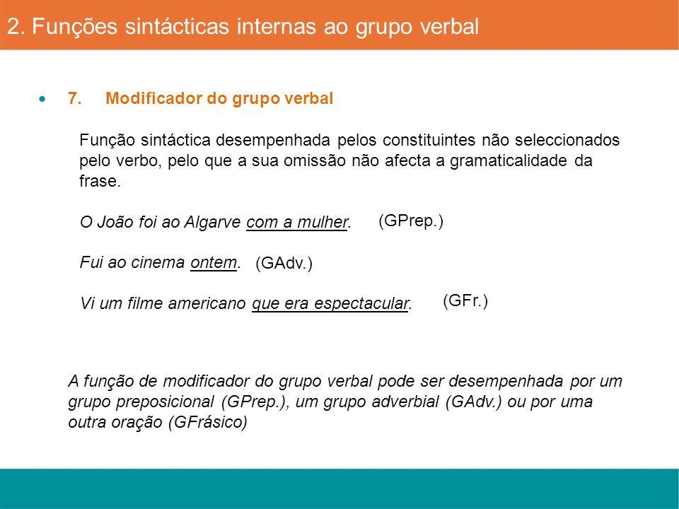 7. Modificador do grupo verbal 2. Funções sintácticas internas ao grupo verbal Função sintáctica desempenhada pelos constituintes não seleccionados pe