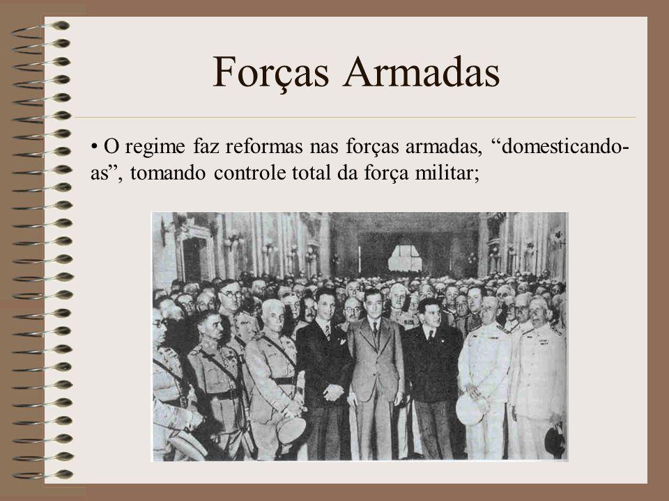 Forças Armadas O regime faz reformas nas forças armadas, domesticando- as, tomando controle total da força militar;