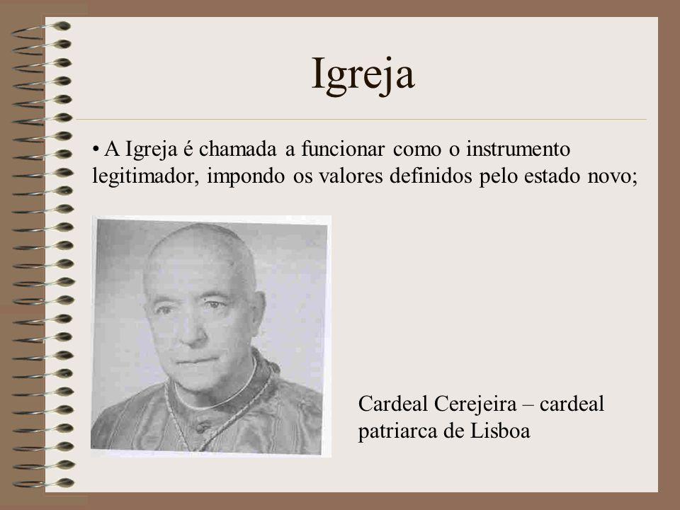 Igreja A Igreja é chamada a funcionar como o instrumento legitimador, impondo os valores definidos pelo estado novo; Cardeal Cerejeira – cardeal patriarca de Lisboa